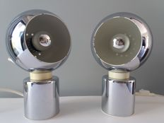 Goffredo Reggiani for Reggiani Lampadari- Set of two magnetic, chromed table lamps, type Eyeball