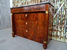 French Empire chest of drawers, mahogany, with St. Anne marble top.
