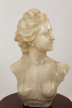 Jef Lambeaux (1852-1908) - Art Nouveau bust of a young lady