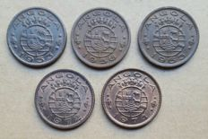 Angola / Portuguese Republic – 5 coin lot – 1 Escudo 1953, 1956, 1963, 1972, 1974 . Better than average
