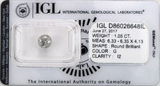 1.05 ct brilliant cut diamond  G  I2
