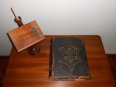National family bible - Ca. 1870 + wooden lectern with candle holder + bookmark of gilded silver