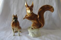 Royal Dux - Beautiful Bohemia squirrel and dog miniatures