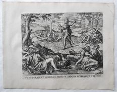 Pieter Jalhea Furnius (16th-17th century) after Gerard Groenning published by Gerard de Jode (1509–1591) published by Nicolaes Visscher I (1618, Amsterdam – 1679, Amsterdam)  - Satan sowing darnel - c. 1568