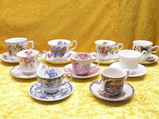 Lot of 9 English cups and saucers including Royal Albert