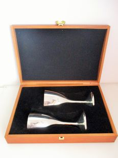 Original Silverplated wine set in a shape of a heart in wood box