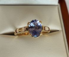 IGI Certified 1.47 ct Bluish-Violet Natural Tanzanite in Ring of 14K Solid Yellow Gold