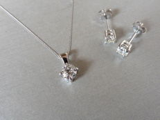 White gold 0.40ct Diamond Pendant and 0.40ct Earring Set