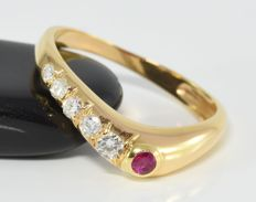 0.21 ct diamond and 0.08 ct ruby ring in 14 kt gold ** no reserve **