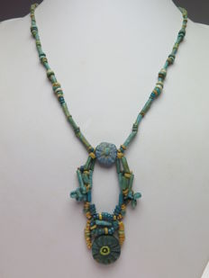 Egyptian necklace of faience beads and flower amulets - 48 cm