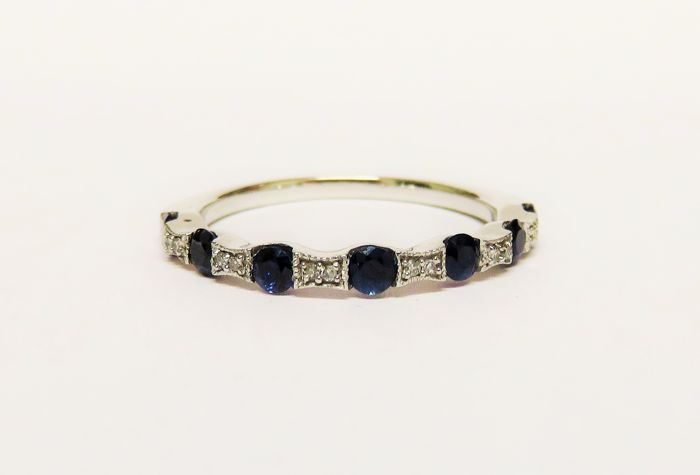 585 white gold cocktail memory ring with sapphires and diamonds - RS 55