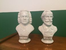 2 Porcelain bust images of componists Bach and Verdi - Signed GDR 1877