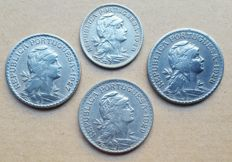 Portuguese Republic – 4 coin lot – 50 Centavos 1920 . Superior Condition & 1 Escudo 1927, 1928, 1929