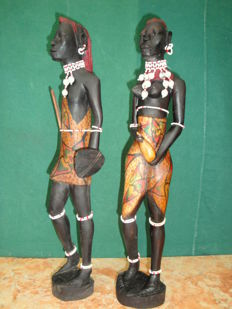 Tribal Man and Woman Sculptures, ca. 1960's