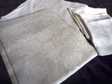 Two heavy hand-woven linen tablecloths +  2 and 3 napkins, all from the late 19th century