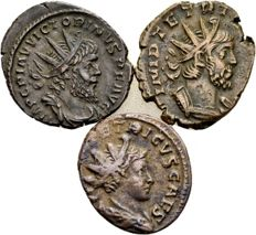 Roman Empire - lot of three antoninianus of Gallic usurpers - Victorinus and father and son Tetricus 269-274 A.D.