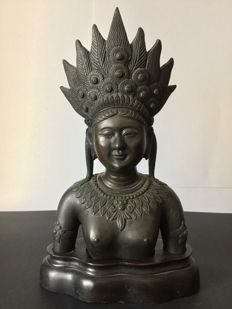 Representation of a divinity in bronze with black patina - Cambodge - mid 20th century