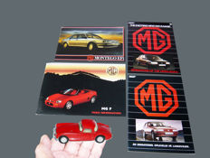 1995 MGF press kit and Technical reveal, a 1:43 Tekno diecast model,  MG  brochures from the 1980' , english and danish, showing the MG history and models as Metro, Maestro and Montego Efi .