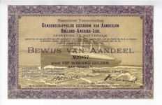 Netherlands - Holland America line - share 500 guilder 1920 with picture of the Statendam