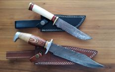 2 sets of original Damascus knives, handmade hunting knife with cow hide leather