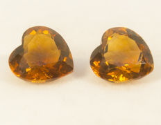 2 Citrines (pair) - 6,37 ct total