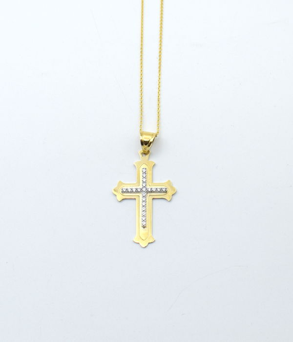 14 carat yellow gold chain with cross  - 45 cm