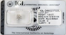 1.02 ct brilliant cut diamond  G  I2