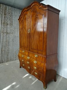 A transition (Louis XV/Louis XVI) mahogany cabinet - with original brass fittings - The Netherlands - circa 1770