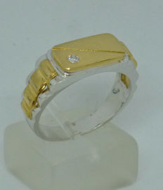 18kt duo-coloured Men's ring with diamond 0,04ct- size: 61