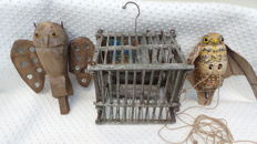 Antique birdcage, top quality with 2 x decoy owl, little owl for catching and luring of small songbirds,