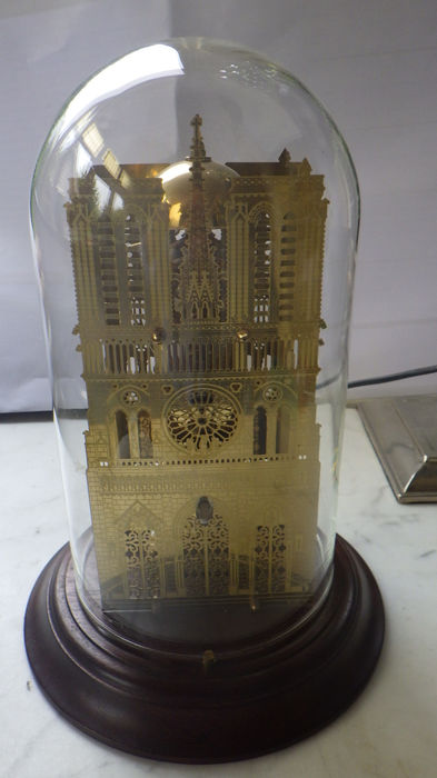 Notre Dame Skeleton Clock in glass bell jar – Hermle – year 1990