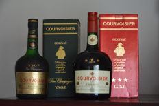 2 Bottles   -   Old Cognac Courvoisier V.S.O.P. Fine Champagne 70 cl 40%vol   -   Old Courvoisier Three Stars Luxe Cognac 1,0 L  40%