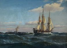 Carl Ludvig Thilson Locher (1851-1915) - Three masted sailing ship in a strong breeze