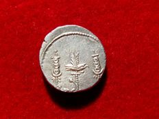 Roman Republic - Mark Antony silver denarius (3,88 g. 15 mm.) minted in Patrae, 32-31 B.C. LEG ( ). Legionary series.