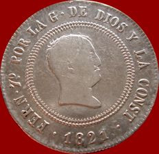 Spain – Fernando VII (1813–1833), 10 reales silver coin – Resealed – 1821 – SR – Madrid