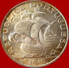 Portugal – Portuguese Republic, silver coin of 10 escudos. Caravel type, 1940.