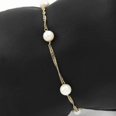 18 kt yellow gold – Bracelet – Cultured pearls – Length: 18.5 cm (approx)