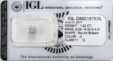 1.02 ct brilliant cut diamond  G  I3