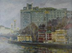 Nikolay Kabanov Bersenevsky. (Russian 20th century) - The Embankment, Moscow, with Kremlin.