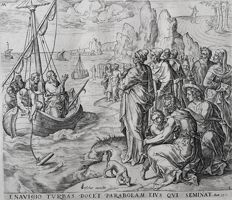 Gerard de Jode (1509–1591) published by Nicolaes Visscher I (1618, Amsterdam – 1679, Amsterdam)  - The Parable of the Tares: Christ Preaching from the Boat - c. 1568