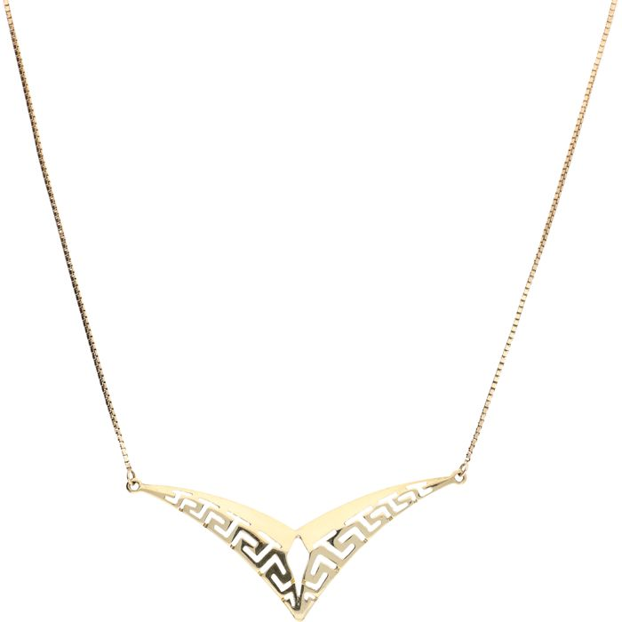 14 kt yellow gold Venetian link necklace with stylised middle piece with Greek pattern – length: 46 cm
