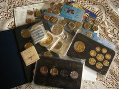 "Europe - luxembourg 2014 (2 Euro  plated ""Precious Metal Set"") + 4  set euro probe gold plated  + 3 set coins + 7 medals"