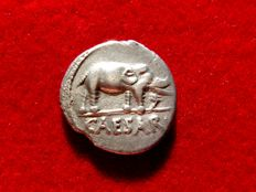 Roman Republic - Julius Caesar silver denarius (3,50 g. 18 mm.), 49-48 B.C. Military mint traveling with legions. CAESAR/ Elephant.