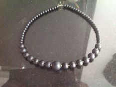 Necklace of Black Jasper 36 grams, length 43 cm, 18k yellow gold clasp