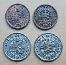 Angola / Portuguese Republic – 4 coin lot – 50 centavos 1948, 1950 & 1953, 1955 . Rare . Better than average