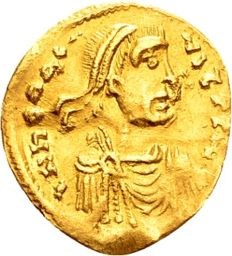 Byzantine Empire, Heraclius (A.D.  610-641) Gold tremissis (15 mm, 1.38 grams), struck in Constantinopolis