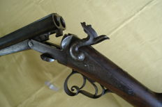 Cal. 16 Juxtapose pinfire shotgun - Belgium - 19th century - steel with walnut