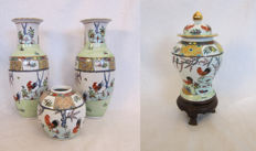 Porcelain items with a rooster pattern - China - Second half 20th century