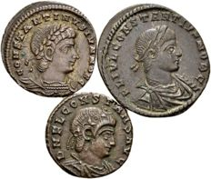 Roman Empire - lot of three AE follis of the sons of Constantine the Great - Constantine II, Constantius II and Constans, 317-350 A.D.