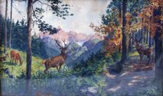 F. Motz (20th century) - Unknown Artist - Deer in the Woods - to 1922